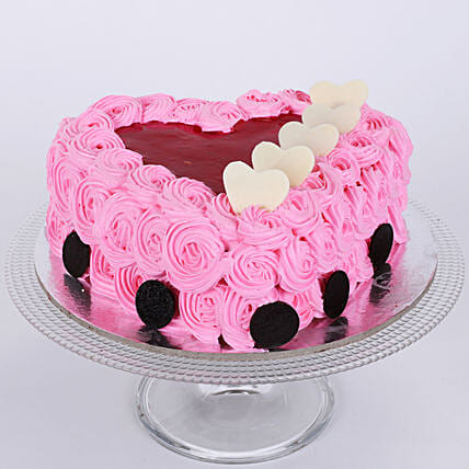 Pink Floral Heart Cake: Cakes for 25Th Anniversary
