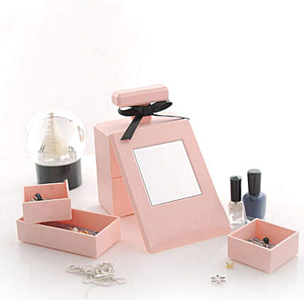 Pink Perfume Bottle Shaped Cosmetic Organizer: Funny Gifts