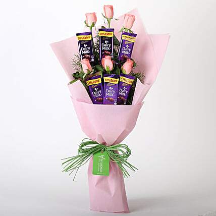 Pink Roses & Dairy Milk Chocolate Bouquet:
