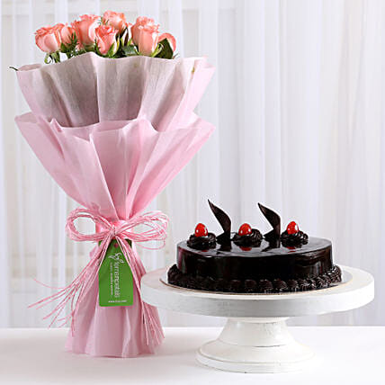 Pink Roses With Cake Same Day Delivery Gifts