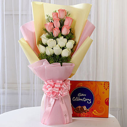 Pink & White Roses & Cadbury Celebrations: Chocolate Combos For Mothers Day