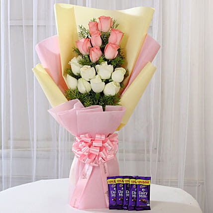 Pink & White Roses & Dairy Milk Combo: Chocolate Combos