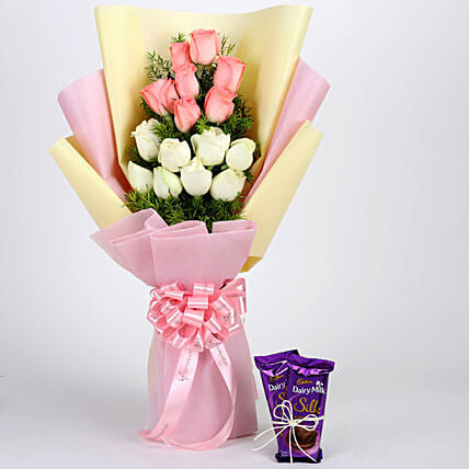 Pink & White Roses with Dairy Milk Silk: Cadbury Chocolates
