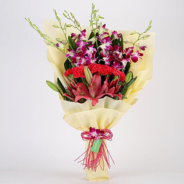 Posy Of Pink & Purple Flowers: Carnations