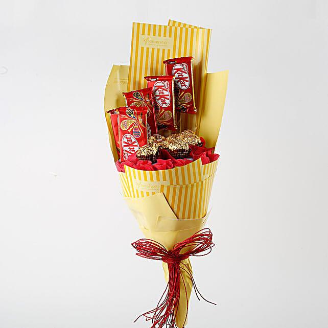 Kit Kat & Ferrero Rocher Bouquet: Send Chocolate Bouquet