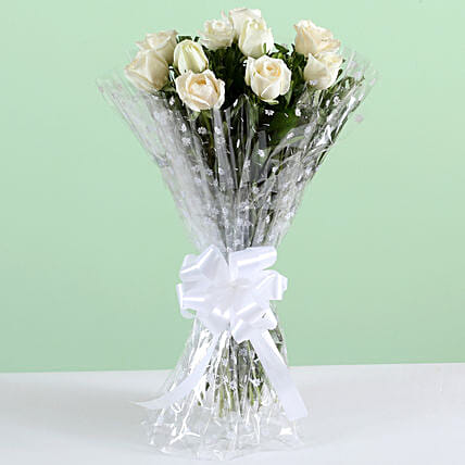 Pure Elegance-10 White Roses Bunch: Roses