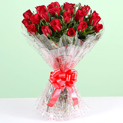 Pure Romance-24 Red Roses Bouquet: Red Flowers