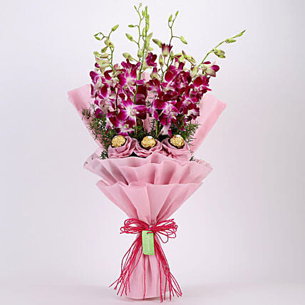 Purple Orchids & Ferrero Rocher Bouquet: Send Orchids