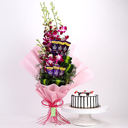 Purple Orchids Posy & Black Forest Cake: Flower Combos