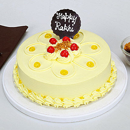 Butterscotch Cake For Rakhi: Send Rakhi with Cakes