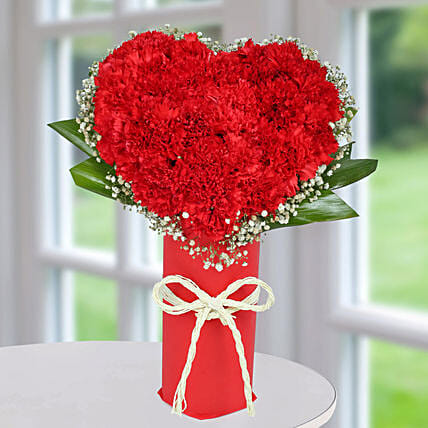 Red Carnation Heart Arrangement: Valentines Day Carnations