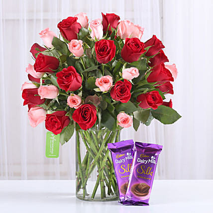 Red & Pink Roses With Dairy Milk Silk: