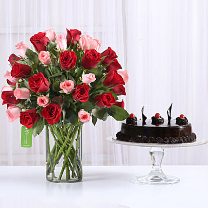 Red & Pink Roses With Truffle Cake: Vase Arrangements