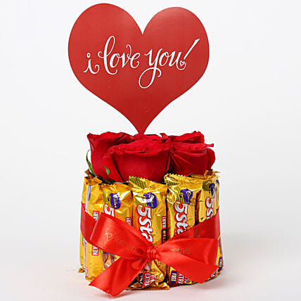 Red Roses in Glass Vase & 5 Star Love Arrangement: Chocolate Bouquet