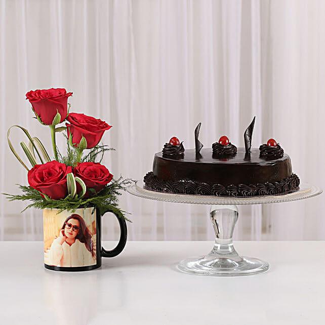 Red Roses Mug & Truffle Cake Combo: