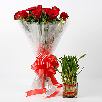 Red Roses & Two Layer Bamboo Plant Combo: Flowers N Plants