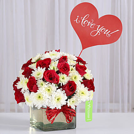Red Roses & White Daisies in Glass Vase: Karwa Chauth Gifts for Husband