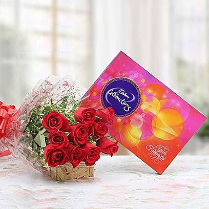Red Roses With Cadbury Celebrations: