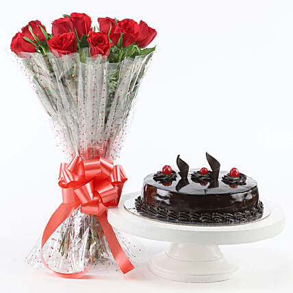Red Roses With Truffle Cake: Flower Bouquet with Cake