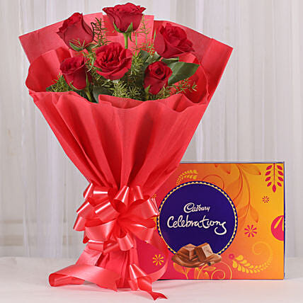 Red Roses & Cadbury Celebrations Combo: Flowers with Chocolates