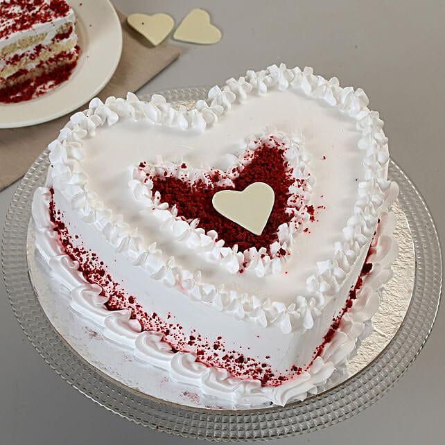 Red Velvet Cream Heart Cake: Red Velvet Cakes Indore