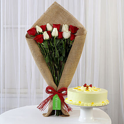 Red & White Roses with Butterscotch Cake: Cake Combos