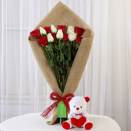 Red & White Roses with Teddy Bear: Flower N Teddy
