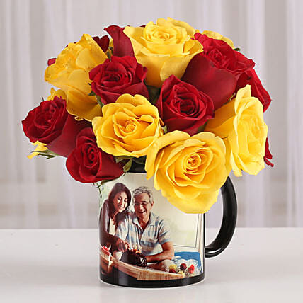 Red & Yellow Roses in Personalised Mug: Flowers N Personalised Gifts
