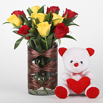 Red & Yellow Roses Vase with Teddy Bear Combo: Flowers & Teddy Bears