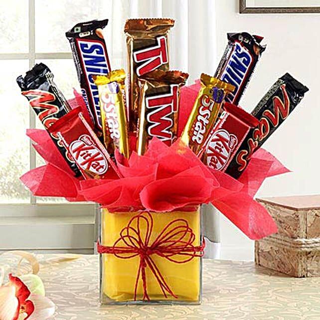 Delicious Chocolate Arrangement in Vase: Chocolate Bouquet