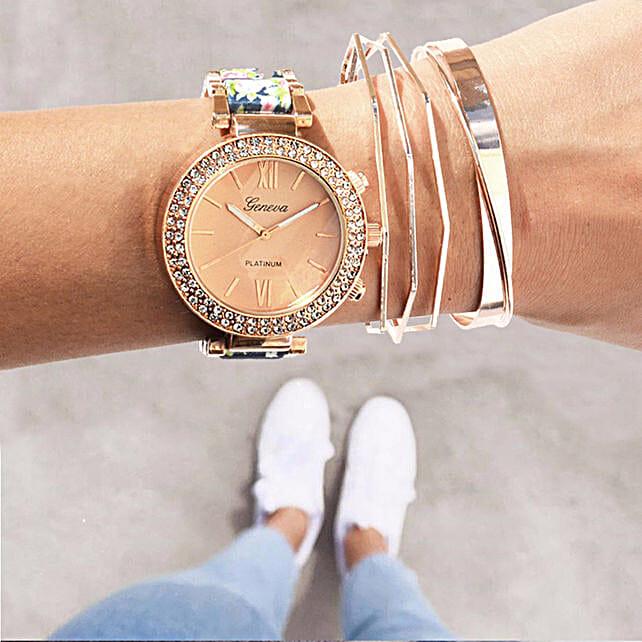 Rosegold Rush Blue Bracelet Stack: Send Jewellery Gifts