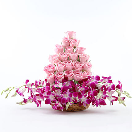 Roses And Orchids Basket Arrangement: Hug Day Gifts