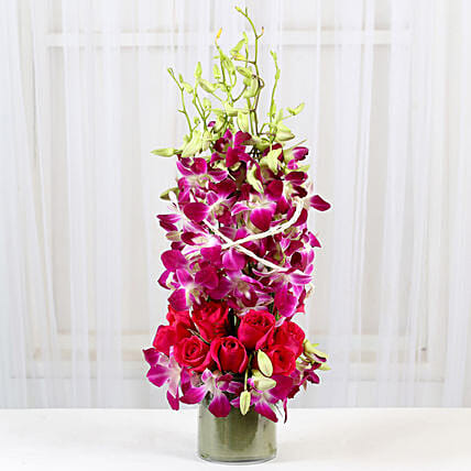 Roses And Orchids Vase Arrangement: Flower Arrangements