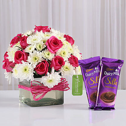 Roses & Daisies Vase with Dairy Milk Silk: Cadbury Chocolates