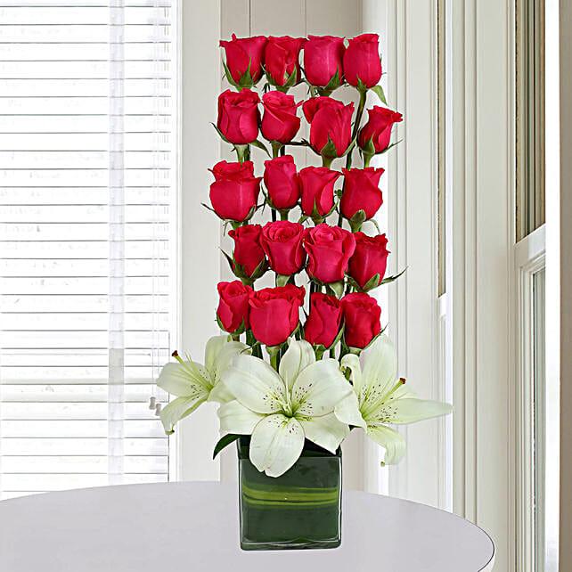 Roses N Lilies Arrangement: Send Lilies
