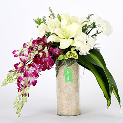 Orchids & Carnations Vase Arrangement: Gifts Delivery In Wakad - Pune