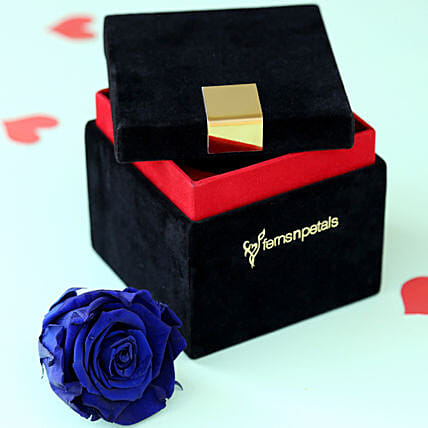 Royal- Forever Blue Rose in Velvet Box: Flower Delivery in Maharajganj