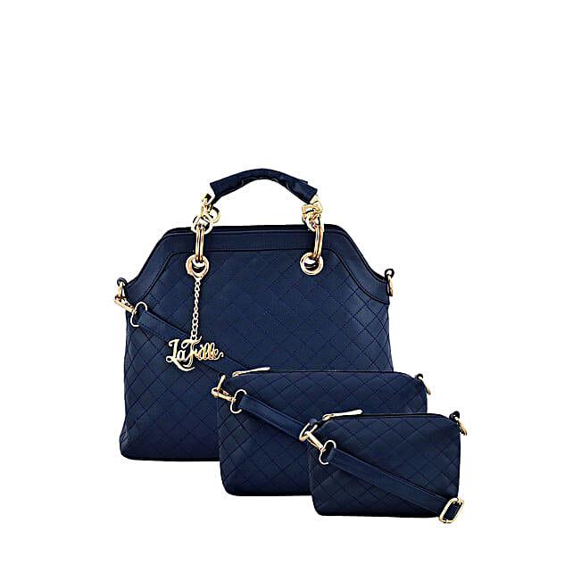 Set of 3 LaFille Blue Handbags: Buy Handbags