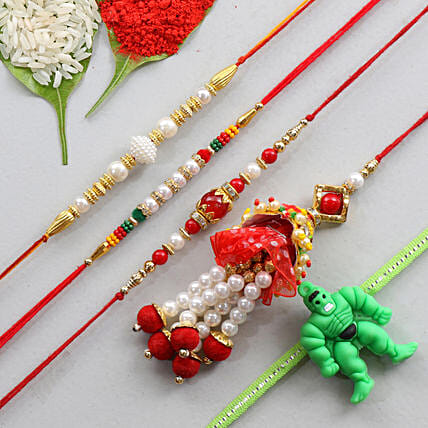 Set Of 5 Multicolor Rakhis For Family: Set of 5 Rakhi