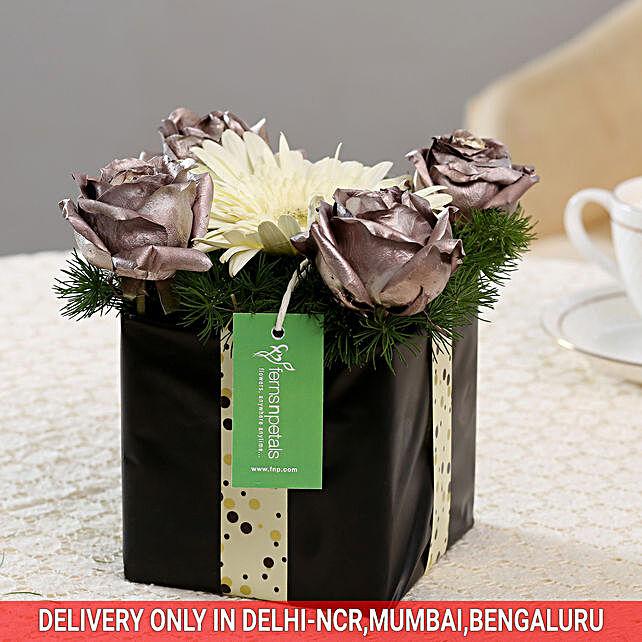 Silver Roses & Gerbera Floral Box: Exotic Flowers