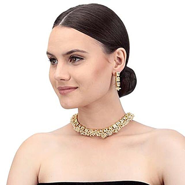 Smart Kundan Gold Color Necklace Set: Send Jewellery Gifts