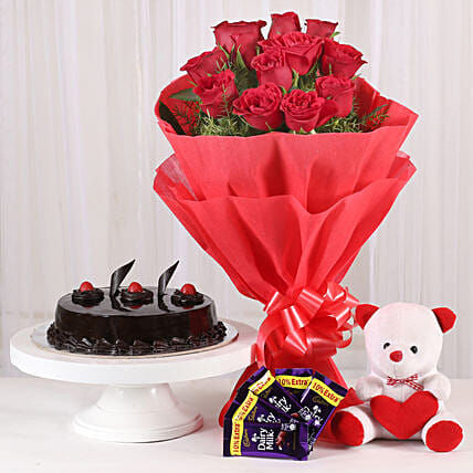 Roses with Teddy Bear, Dairy Milk & Truffle Cake: Cakes N Teddy Bears