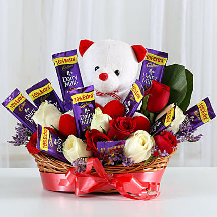 Special Surprise Arrangement: Flowers & Teddy Bears