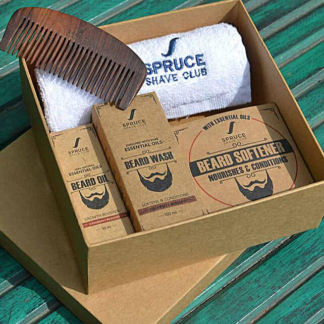 Spruce Shave Club Beard Care Trio- Cedarwood & Mandarin: Cosmetics & Spa Hampers