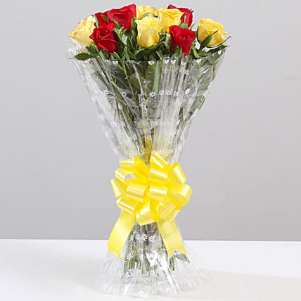 Striking Red & Yellow Rose Bouquet: