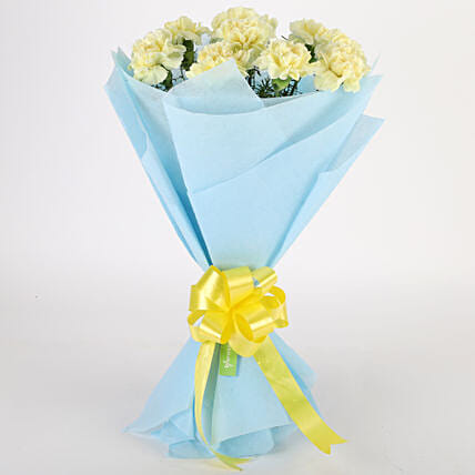 Sundripped Yellow Carnations Bouquet Birthday Gifts For Husband