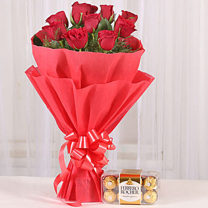 Red Roses & Ferrero Rocher Combo: Ferrero Rocher Chocolates