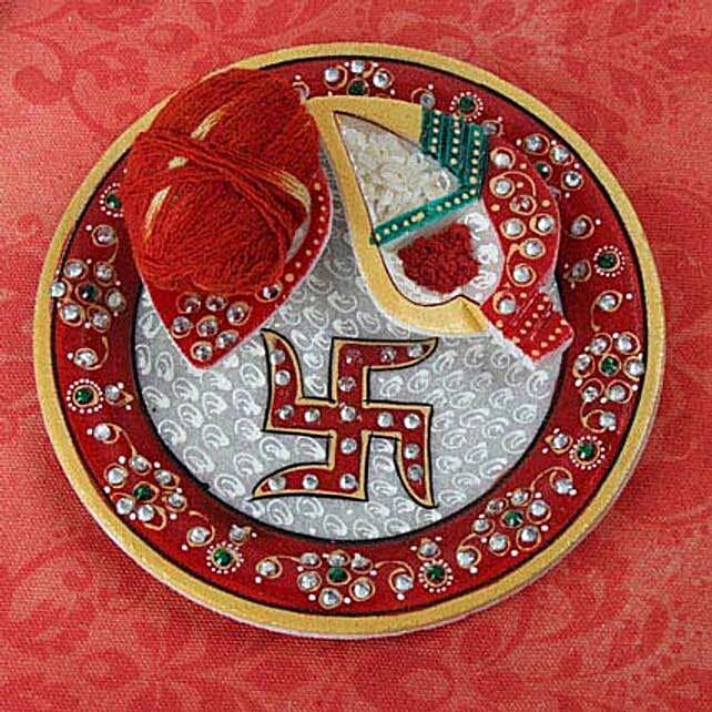 Swastika Marble Pooja Thali: Pooja Thali for Bhaidooj