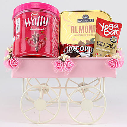 Sweet & Savoury Hamper In Pink Handcart: Send Birthday Gift Hampers