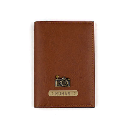 Tan Personalised Passport Cover: Personalised Accessories